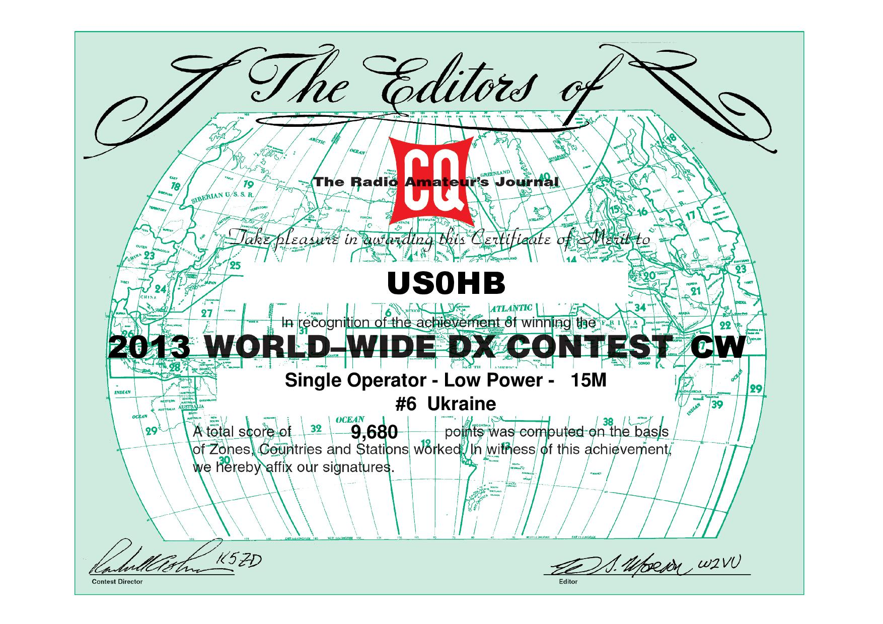 US0HB CQWW 2013 CW certificate page 001