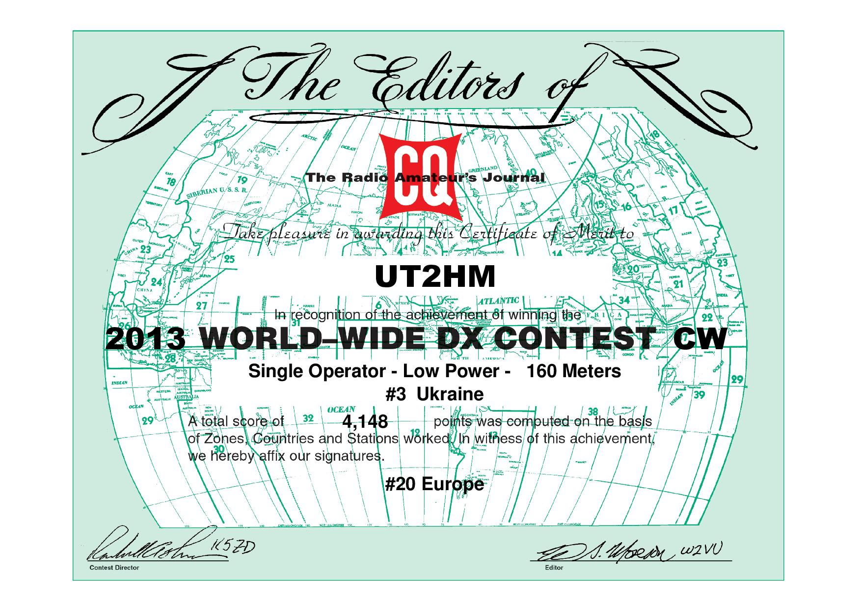 UT2HM CQWW 2013 CW certificate page 001